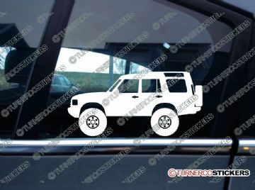2x Lifted Land Rover Discovery series 2 offroad 4x4 silhouette stickers